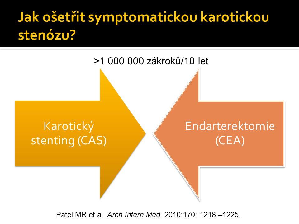 Jak ošetřit symptomatickou karotickou stenózu? Karotický stenting (CAS) Endarterektomie (CEA) >1 000 000 zákroků/10 let Patel MR et al. Arch Intern Me