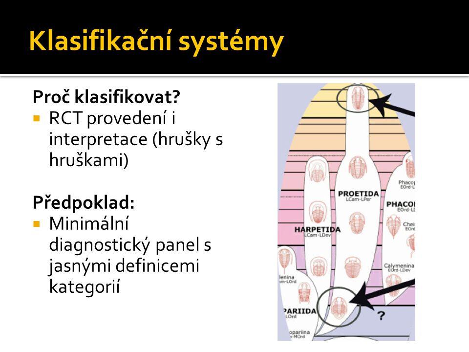Klasifikační systémy Proč klasifikovat?  RCT provedení i interpretace (hrušky s hruškami) Předpoklad:  Minimální diagnostický panel s jasnými defini
