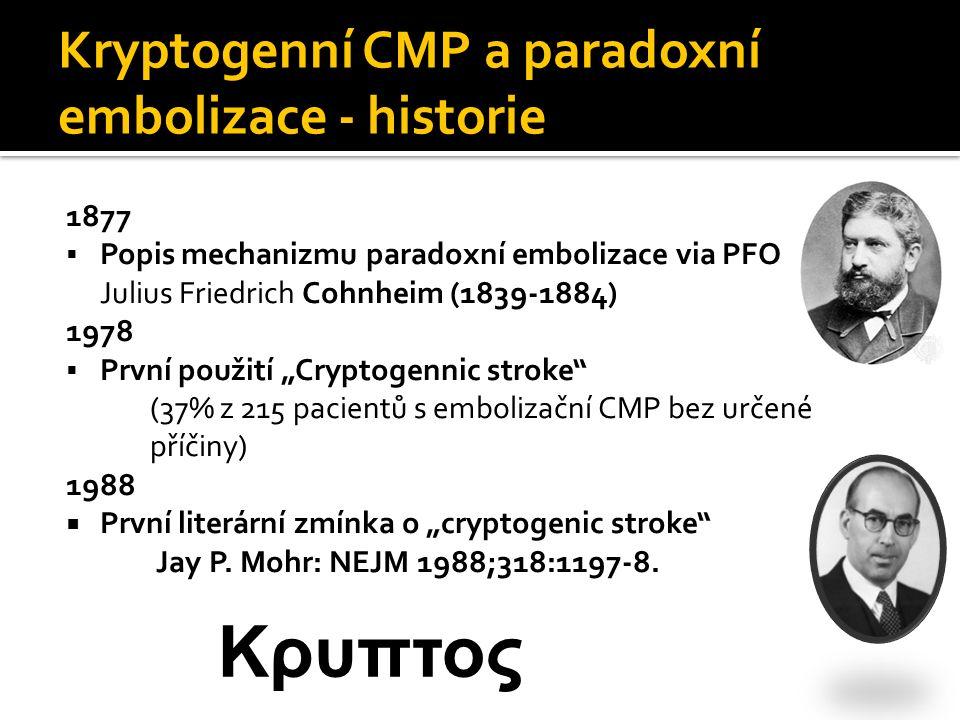 Kryptogenní CMP a paradoxní embolizace - historie 1877  Popis mechanizmu paradoxní embolizace via PFO Julius Friedrich Cohnheim (1839-1884) 1978  Pr