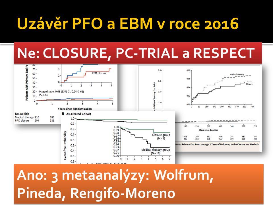 Uzávěr PFO a EBM v roce 2016 Ne: CLOSURE, PC-TRIAL a RESPECT Ano: 3 metaanalýzy: Wolfrum, Pineda, Rengifo-Moreno