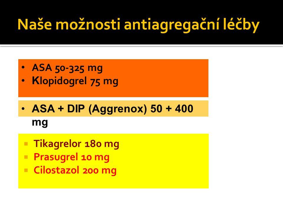  Tikagrelor 180 mg  Prasugrel 10 mg  Cilostazol 200 mg Naše možnosti antiagregační léčby ASA 50-325 mg K lopidogrel 75 mg ASA + DIP (Aggrenox) 50 +