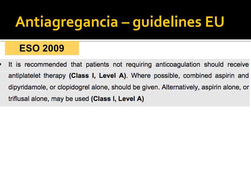 Antiagregancia – guidelines EU ESO 2009