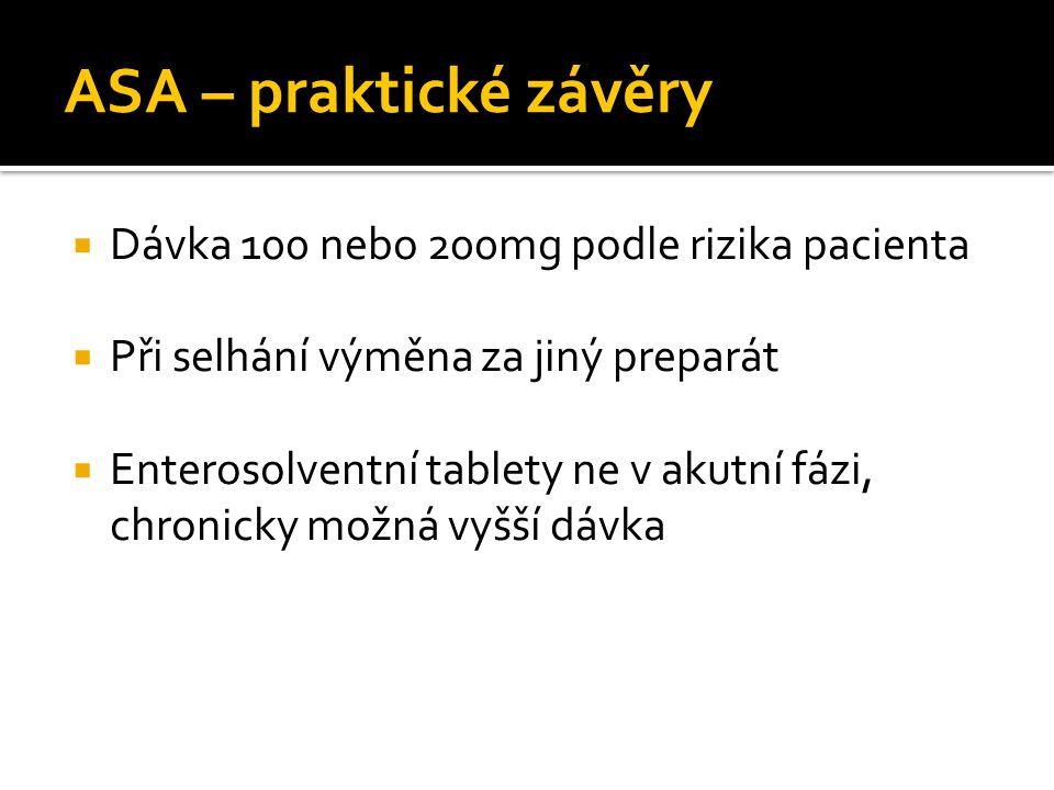 ASA – praktické závěry  Dávka 100 nebo 200mg podle rizika pacienta  Při selhání výměna za jiný preparát  Enterosolventní tablety ne v akutní fázi,