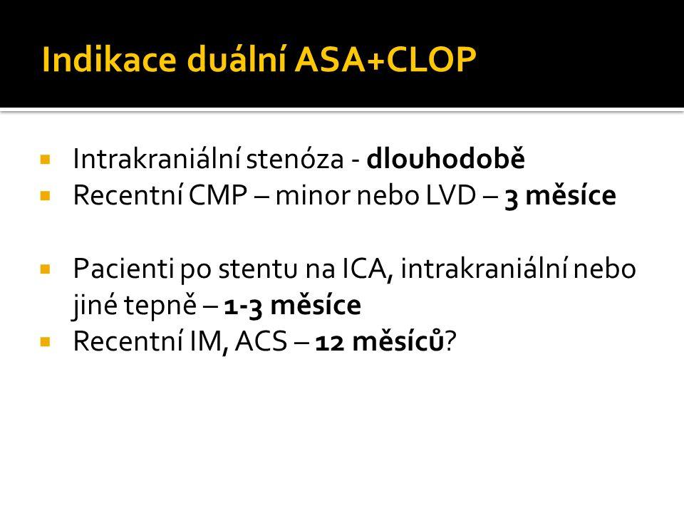 Indikace duální ASA+CLOP  Intrakraniální stenóza - dlouhodobě  Recentní CMP – minor nebo LVD – 3 měsíce  Pacienti po stentu na ICA, intrakraniální