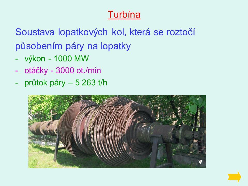 Turbína Soustava lopatkových kol, která se roztočí působením páry na lopatky -výkon - 1000 MW -otáčky - 3000 ot./min -průtok páry – 5 263 t/h