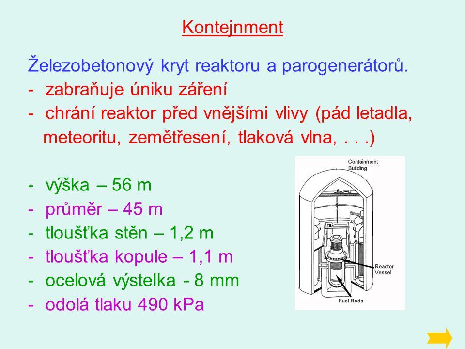 Kontejnment Železobetonový kryt reaktoru a parogenerátorů.