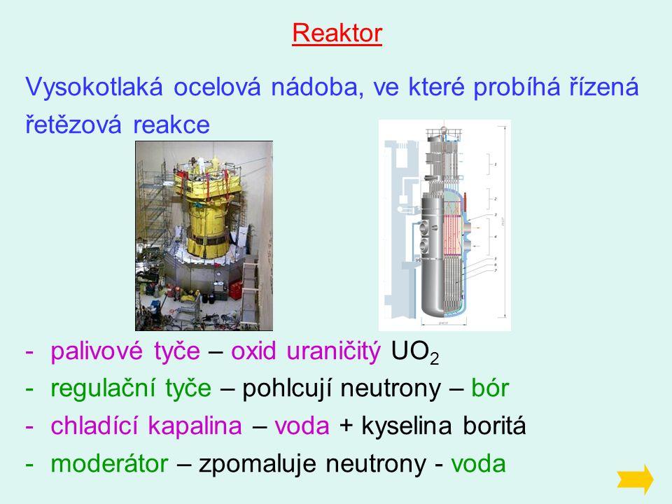 Reaktor Vysokotlaká ocelová nádoba, ve které probíhá řízená řetězová reakce -palivové tyče – oxid uraničitý UO 2 -regulační tyče – pohlcují neutrony – bór -chladící kapalina – voda + kyselina boritá -moderátor – zpomaluje neutrony - voda