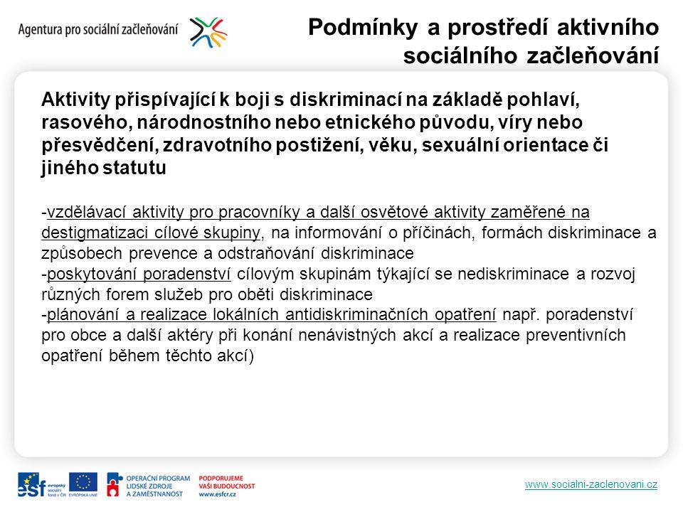 www.socialni-zaclenovani.cz Podmínky a prostředí aktivního sociálního začleňování Aktivity přispívající k boji s diskriminací na základě pohlaví, raso