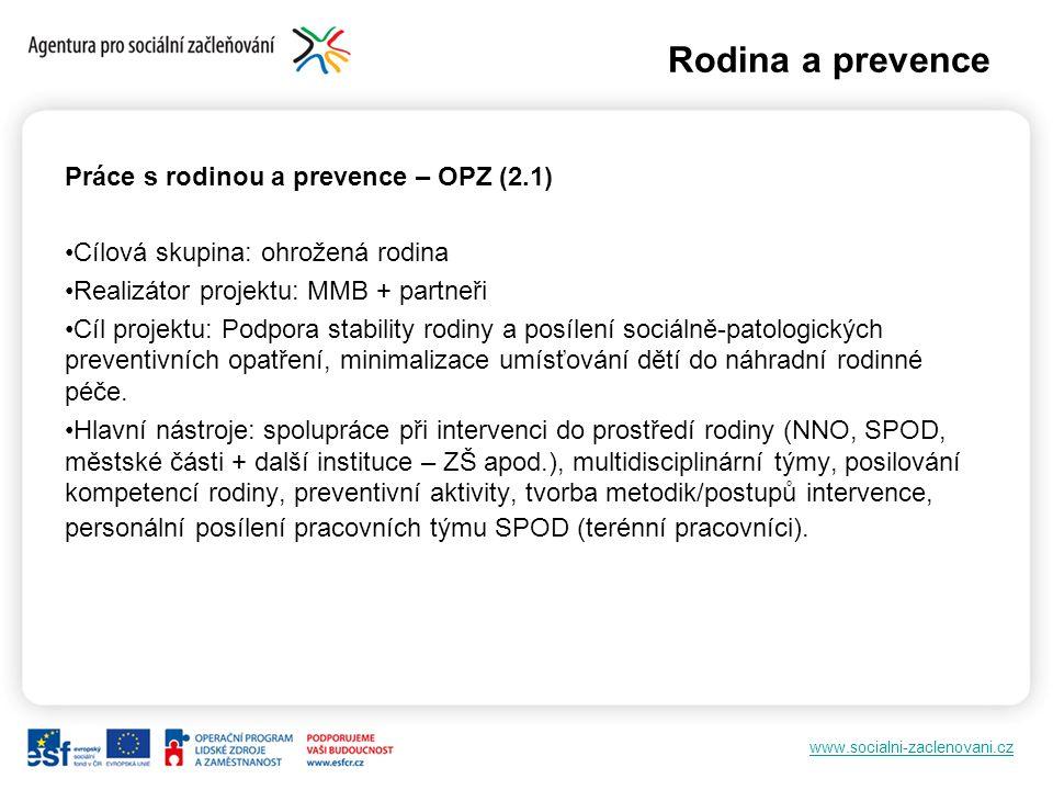 www.socialni-zaclenovani.cz Práce s rodinou a prevence – OPZ (2.1) Cílová skupina: ohrožená rodina Realizátor projektu: MMB + partneři Cíl projektu: P