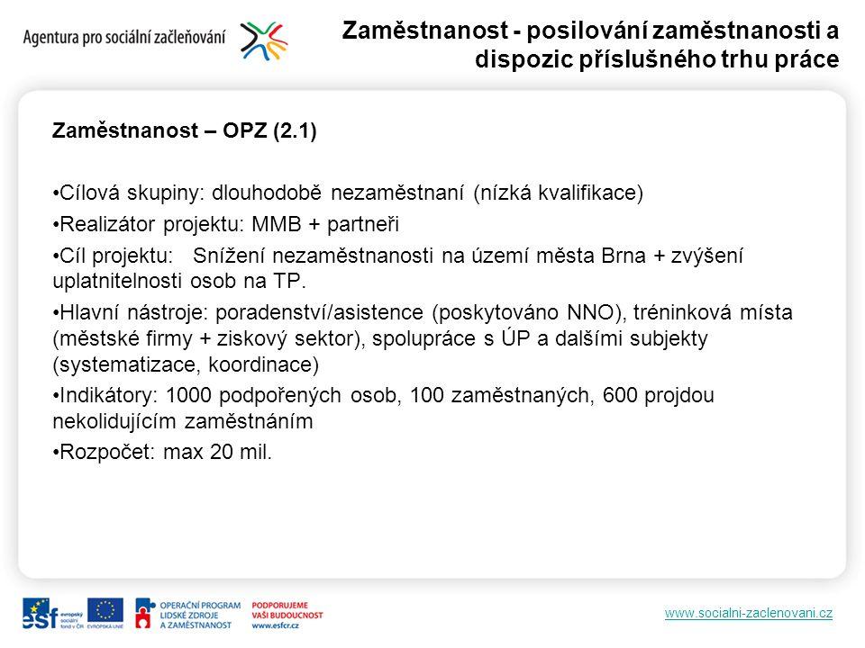 www.socialni-zaclenovani.cz Zaměstnanost - posilování zaměstnanosti a dispozic příslušného trhu práce Zaměstnanost – OPZ (2.1) Cílová skupiny: dlouhod