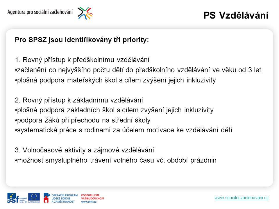 www.socialni-zaclenovani.cz PS Vzdělávání Pro SPSZ jsou identifikovány tři priority: 1. Rovný přístup k předškolnímu vzdělávání začlenění co nejvyššíh