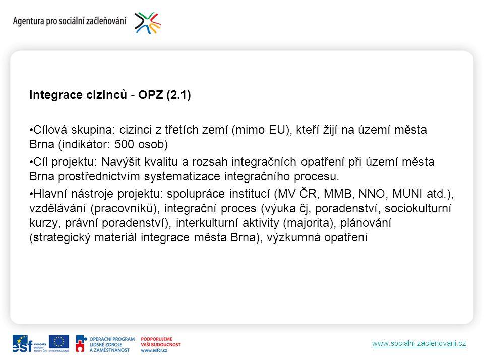 www.socialni-zaclenovani.cz Integrace cizinců - OPZ (2.1) Cílová skupina: cizinci z třetích zemí (mimo EU), kteří žijí na území města Brna (indikátor: