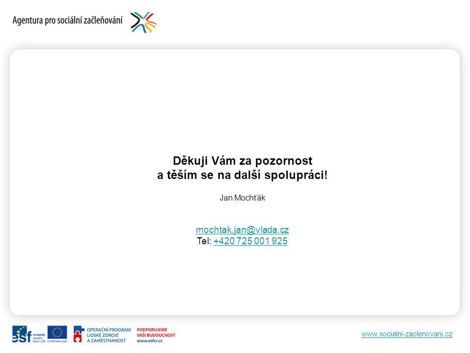 www.socialni-zaclenovani.cz Děkuji Vám za pozornost a těším se na další spolupráci! Jan Mochťák mochtak.jan@vlada.cz Tel: +420 725 001 925+420 725 001