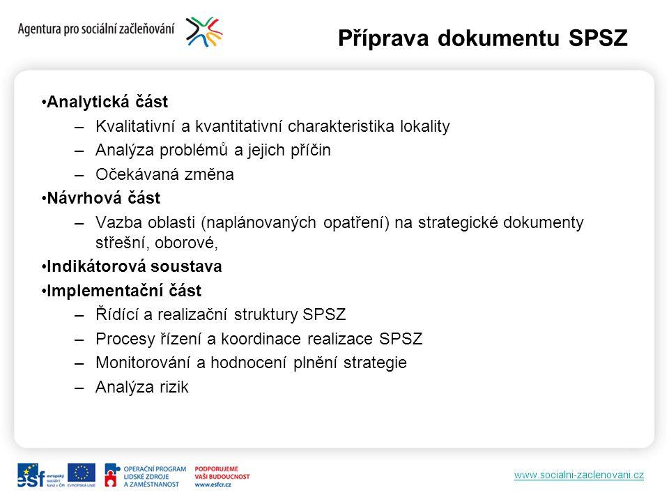 www.socialni-zaclenovani.cz Příprava dokumentu SPSZ Analytická část –Kvalitativní a kvantitativní charakteristika lokality –Analýza problémů a jejich