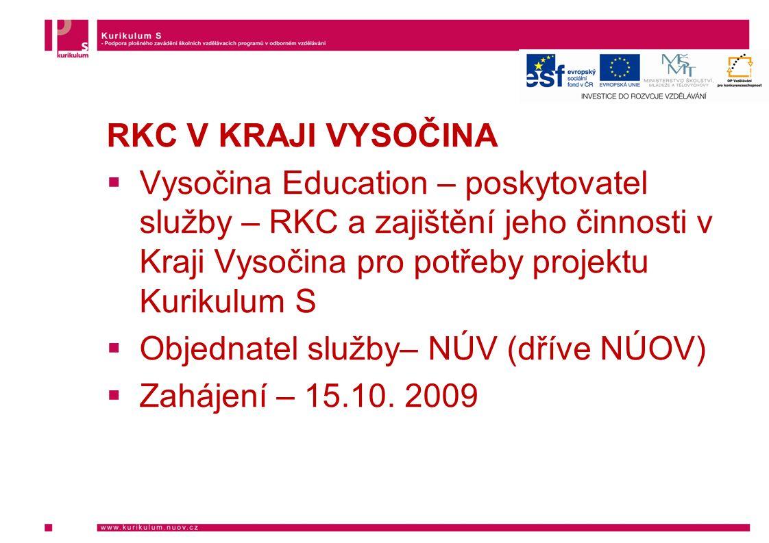RKC V KRAJI VYSOČINA  Vysočina Education – poskytovatel služby – RKC a zajištění jeho činnosti v Kraji Vysočina pro potřeby projektu Kurikulum S  Objednatel služby– NÚV (dříve NÚOV)  Zahájení – 15.10.
