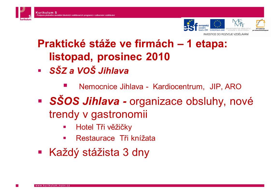 Praktické stáže ve firmách – 1 etapa: listopad, prosinec 2010  SŠZ a VOŠ Jihlava  Nemocnice Jihlava - Kardiocentrum, JIP, ARO  SŠOS Jihlava - organ