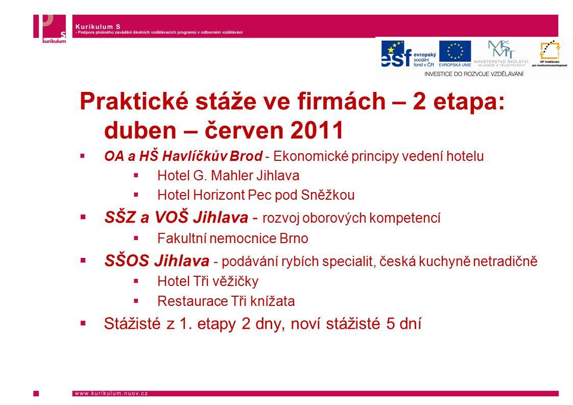 Praktické stáže ve firmách – 2 etapa: duben – červen 2011  OA a HŠ Havlíčkův Brod - Ekonomické principy vedení hotelu  Hotel G. Mahler Jihlava  Hot