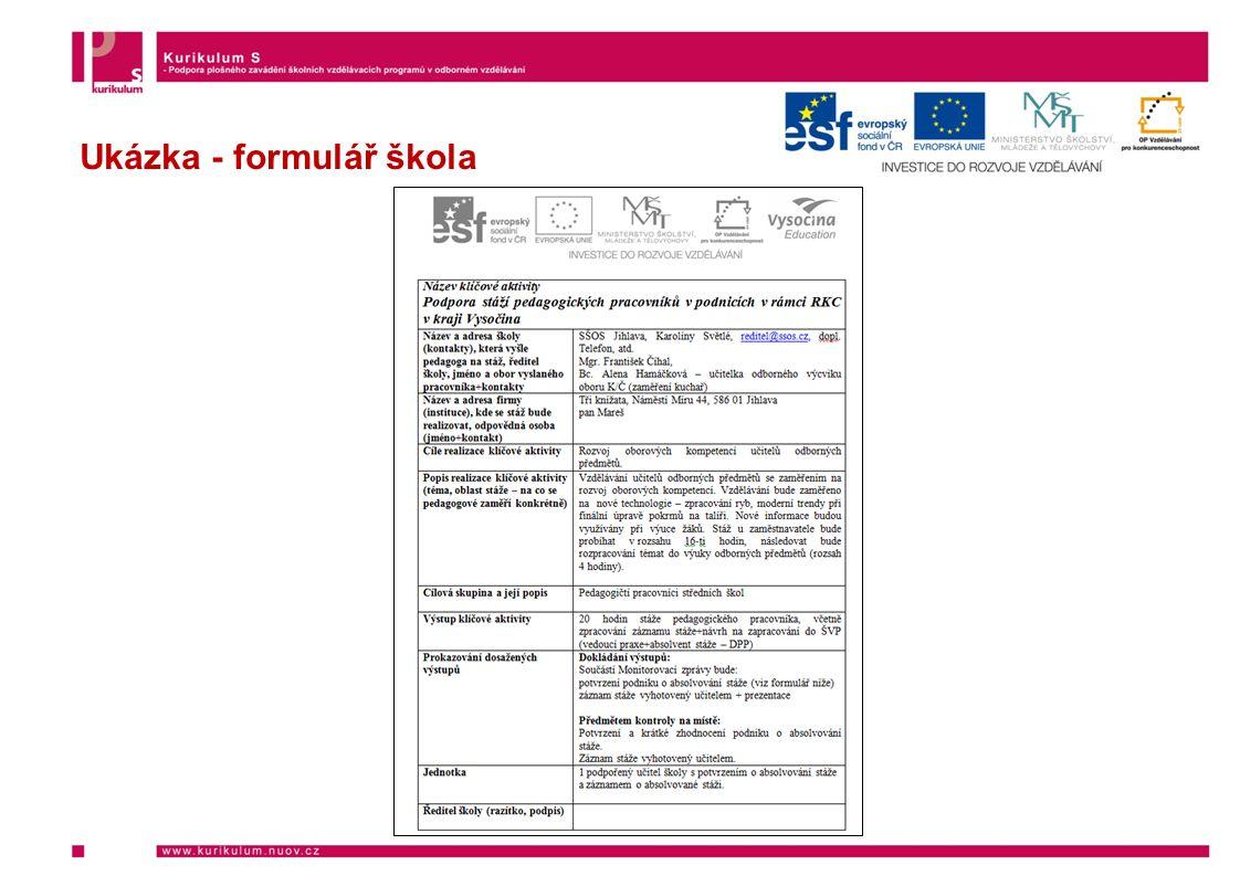 Ukázka - formulář škola