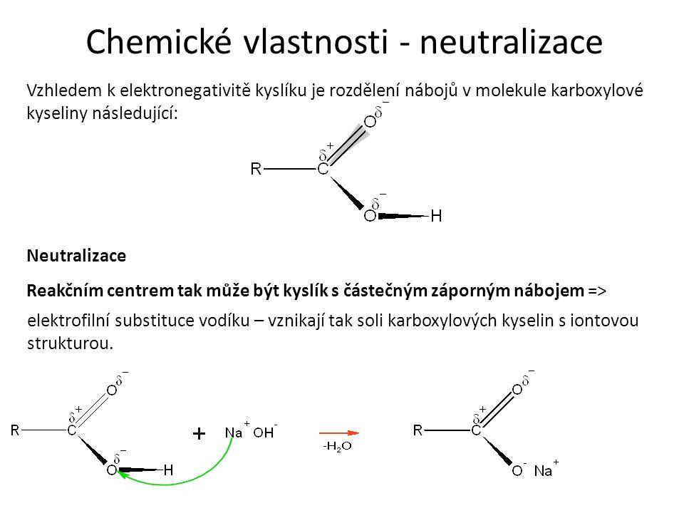 Chemické vlastnosti - neutralizace Vzhledem k elektronegativitě kyslíku je rozdělení nábojů v molekule karboxylové kyseliny následující: Reakčním centrem tak může být kyslík s částečným záporným nábojem => elektrofilní substituce vodíku – vznikají tak soli karboxylových kyselin s iontovou strukturou.