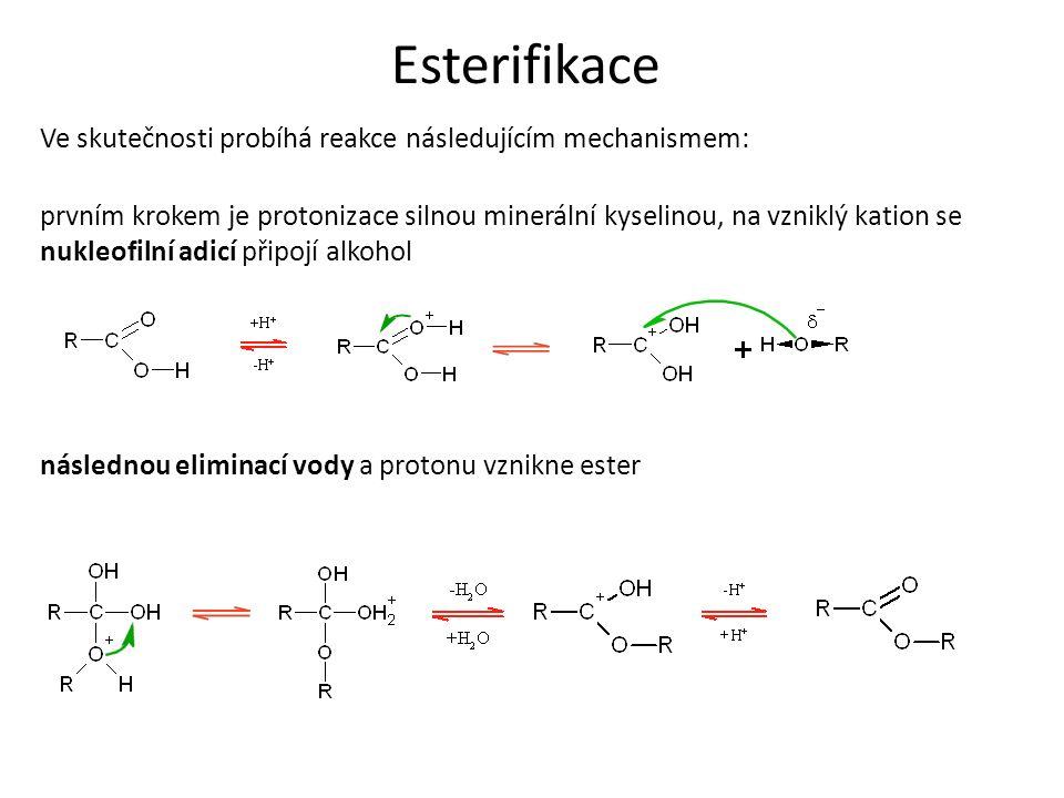 Esterifikace Ve skutečnosti probíhá reakce následujícím mechanismem: prvním krokem je protonizace silnou minerální kyselinou, na vzniklý kation se nukleofilní adicí připojí alkohol následnou eliminací vody a protonu vznikne ester