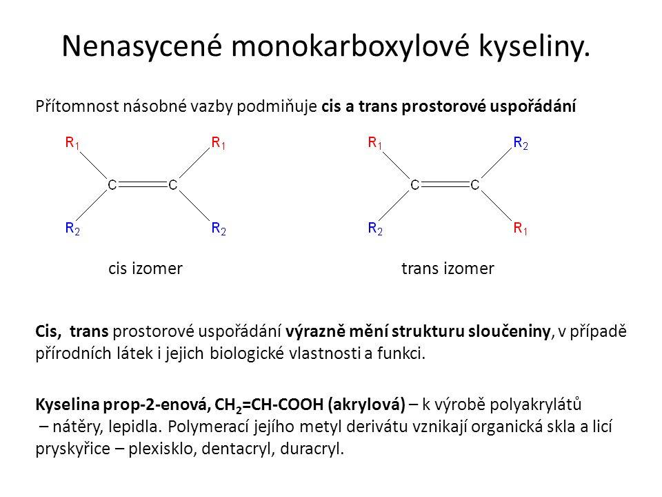 Nenasycené monokarboxylové kyseliny.