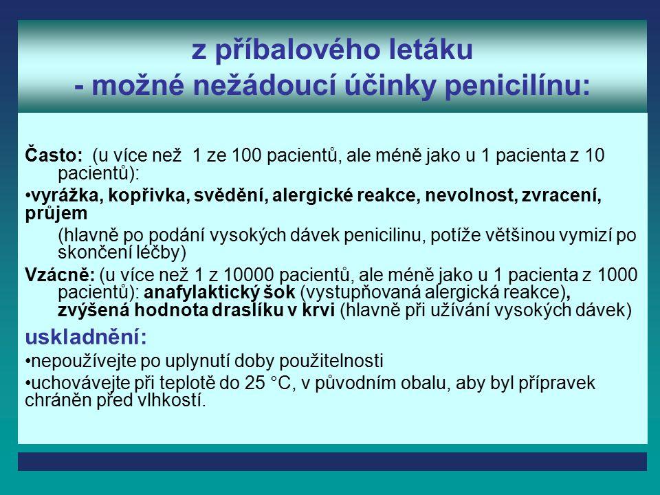 z příbalového letáku - možné nežádoucí účinky penicilínu: Často: (u více než 1 ze 100 pacientů, ale méně jako u 1 pacienta z 10 pacientů): vyrážka, kopřivka, svědění, alergické reakce, nevolnost, zvracení, průjem (hlavně po podání vysokých dávek penicilinu, potíže většinou vymizí po skončení léčby) Vzácně: (u více než 1 z 10000 pacientů, ale méně jako u 1 pacienta z 1000 pacientů): anafylaktický šok (vystupňovaná alergická reakce), zvýšená hodnota draslíku v krvi (hlavně při užívání vysokých dávek) uskladnění: nepoužívejte po uplynutí doby použitelnosti uchovávejte při teplotě do 25 °C, v původním obalu, aby byl přípravek chráněn před vlhkostí.