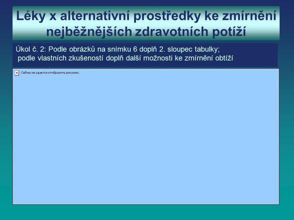 Léky x alternativní prostředky ke zmírnění nejběžnějších zdravotních potíží Úkol č.