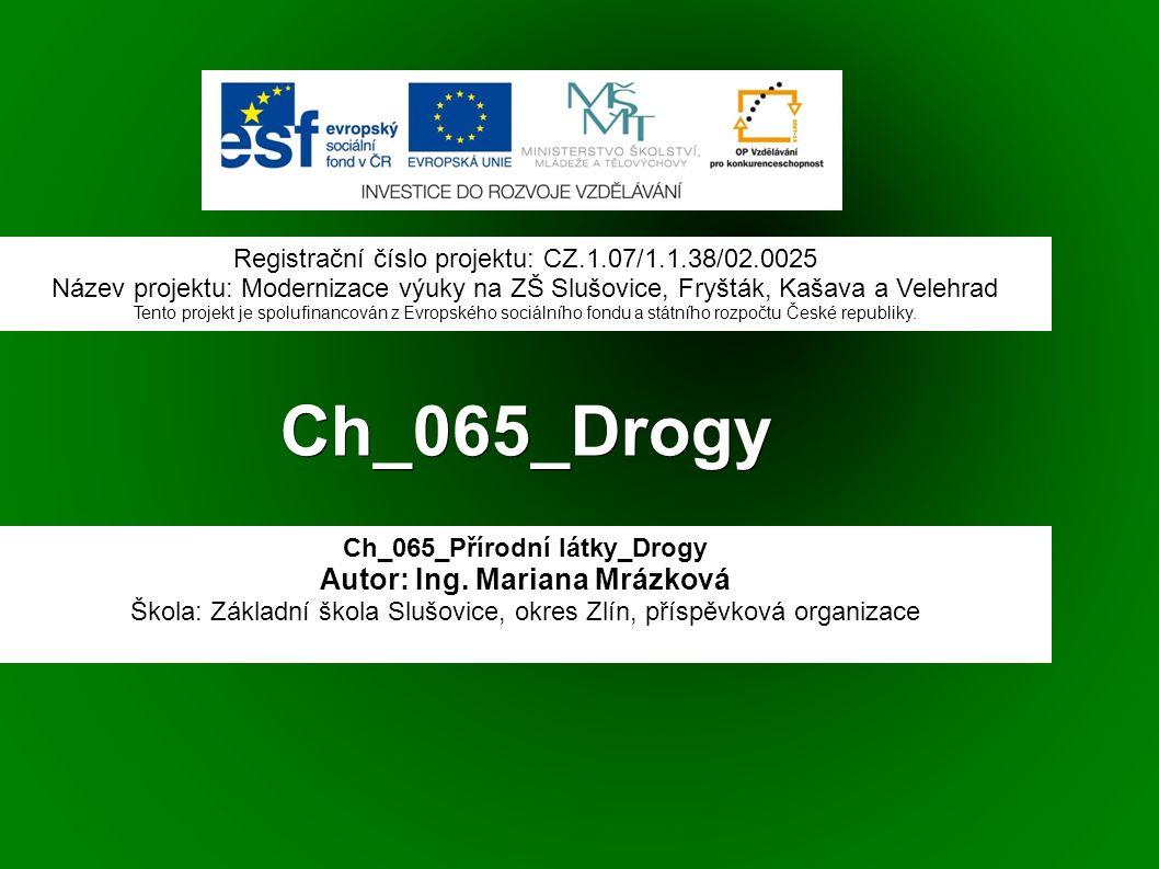 Ch_065_Drogy Ch_065_Přírodní látky_Drogy Autor: Ing.