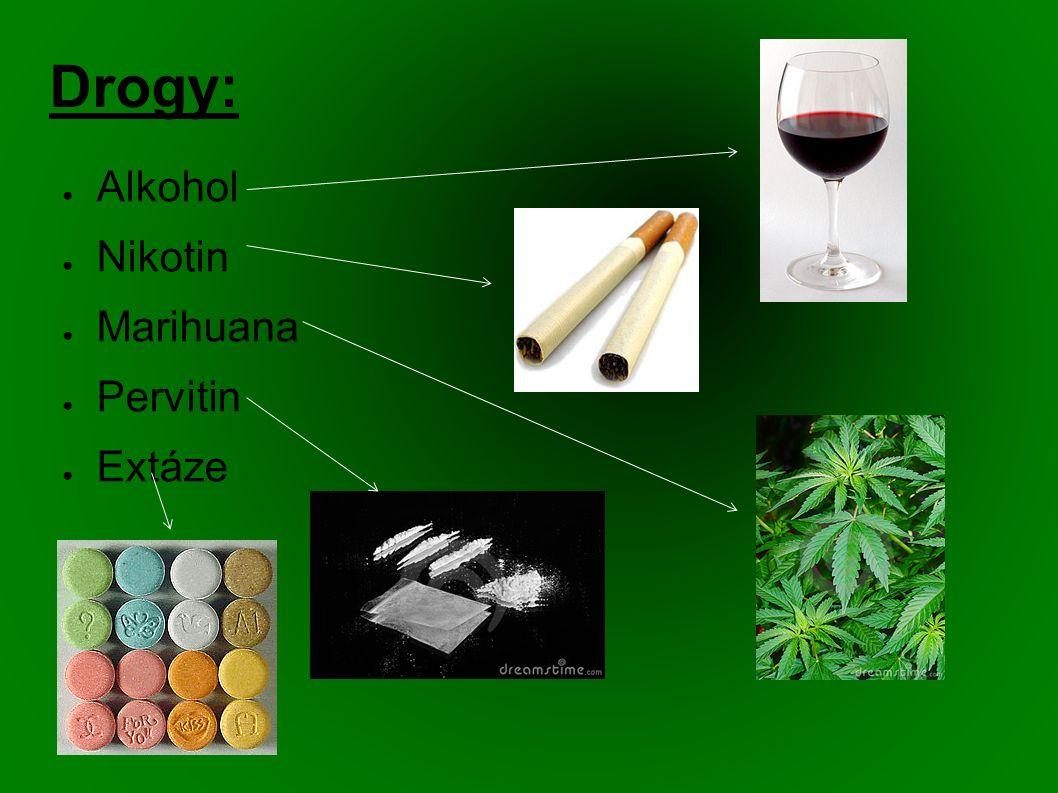 Drogy: ● Alkohol ● Nikotin ● Marihuana ● Pervitin ● Extáze
