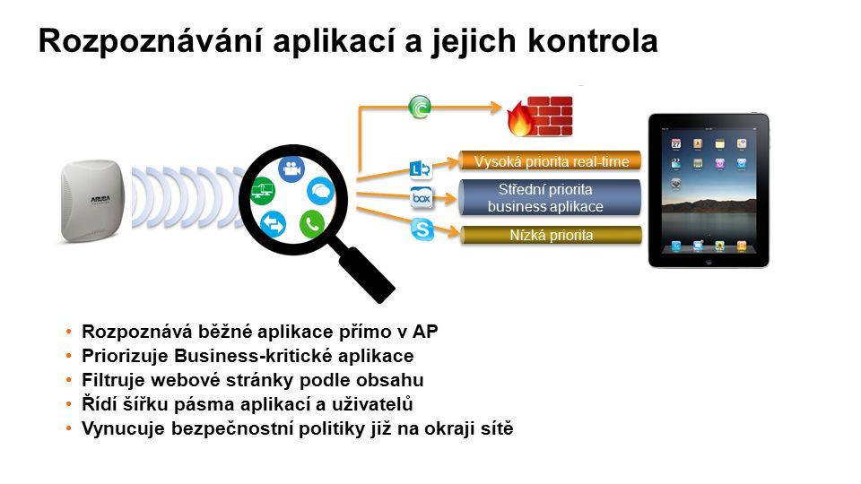 Rozpoznávání aplikací a jejich kontrola Střední priorita business aplikace Vysoká priorita real-time Nízká priorita Rozpoznává běžné aplikace přímo v AP Priorizuje Business-kritické aplikace Filtruje webové stránky podle obsahu Řídí šířku pásma aplikací a uživatelů Vynucuje bezpečnostní politiky již na okraji sítě AppRF