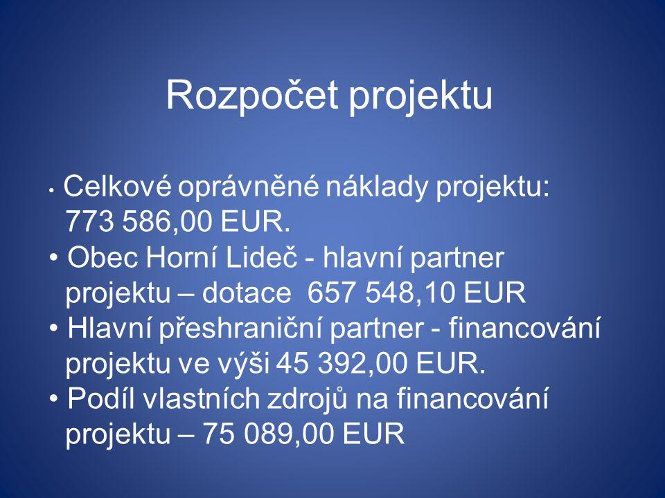 Rozpočet projektu Celkové oprávněné náklady projektu: 773 586,00 EUR.