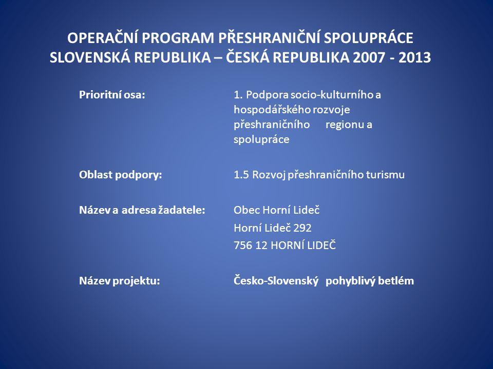 OPERAČNÍ PROGRAM PŘESHRANIČNÍ SPOLUPRÁCE SLOVENSKÁ REPUBLIKA – ČESKÁ REPUBLIKA 2007 - 2013 Prioritní osa:1.