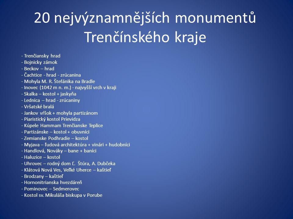 20 nejvýznamnějších monumentů Trenčínského kraje - Trenčiansky hrad - Bojnicky zámok - Beckov – hrad - Čachtice - hrad - zrúcanina - Mohyla M. R. Štef