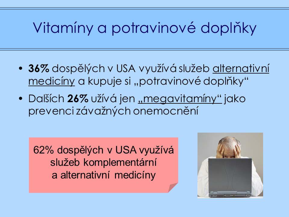 """Vitamíny a potravinové doplňky 36% dospělých v USA využívá služeb alternativní medicíny a kupuje si """"potravinové doplňky Dalších 26% užívá jen """"megavitamíny jako prevenci závažných onemocnění 62% dospělých v USA využívá služeb komplementární a alternativní medicíny"""