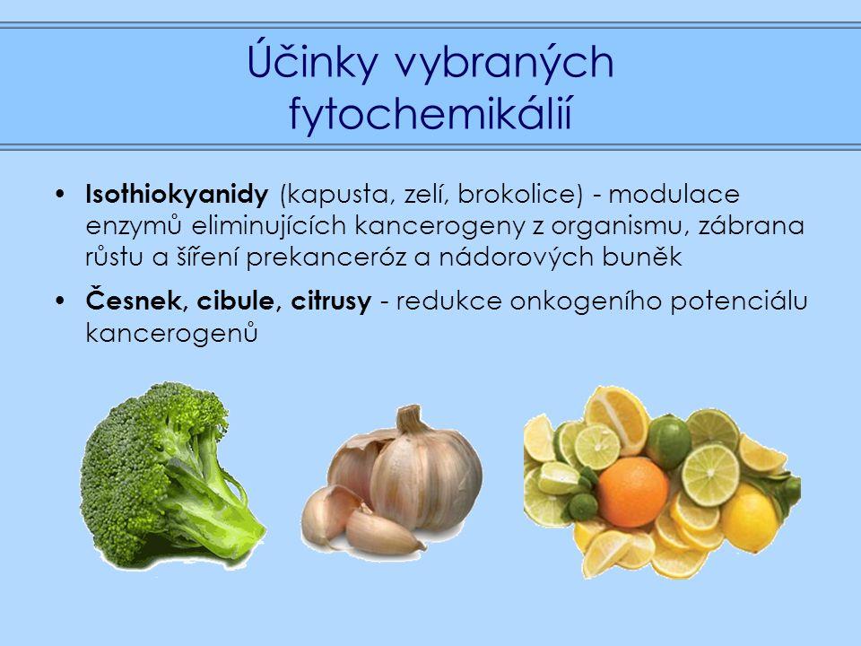 Účinky vybraných fytochemikálií Isothiokyanidy (kapusta, zelí, brokolice) - modulace enzymů eliminujících kancerogeny z organismu, zábrana růstu a šíření prekanceróz a nádorových buněk Česnek, cibule, citrusy - redukce onkogeního potenciálu kancerogenů