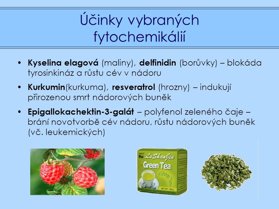 Účinky vybraných fytochemikálií Kyselina elagová (maliny), delfinidin (borůvky) – blokáda tyrosinkináz a růstu cév v nádoru Kurkumin (kurkuma), resveratrol (hrozny) – indukují přirozenou smrt nádorových buněk Epigallokachektin-3-galát – polyfenol zeleného čaje – brání novotvorbě cév nádoru, růstu nádorových buněk (vč.