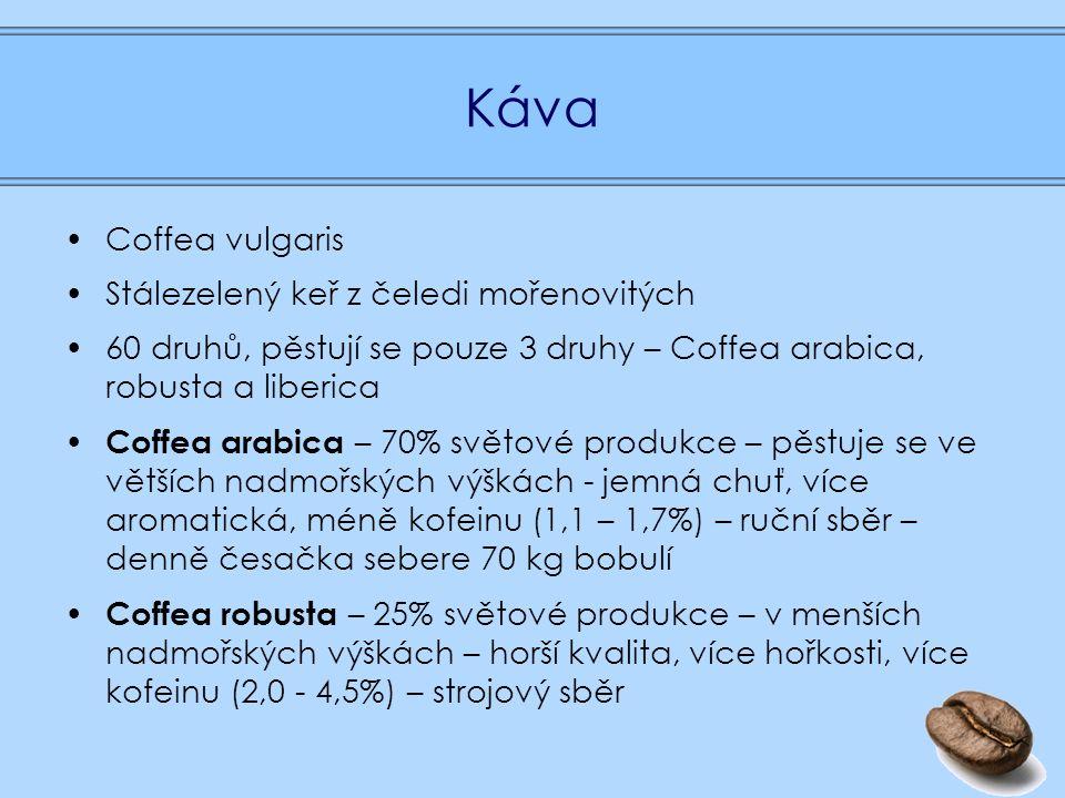 Káva Coffea vulgaris Stálezelený keř z čeledi mořenovitých 60 druhů, pěstují se pouze 3 druhy – Coffea arabica, robusta a liberica Coffea arabica – 70% světové produkce – pěstuje se ve větších nadmořských výškách - jemná chuť, více aromatická, méně kofeinu (1,1 – 1,7%) – ruční sběr – denně česačka sebere 70 kg bobulí Coffea robusta – 25% světové produkce – v menších nadmořských výškách – horší kvalita, více hořkosti, více kofeinu (2,0 - 4,5%) – strojový sběr