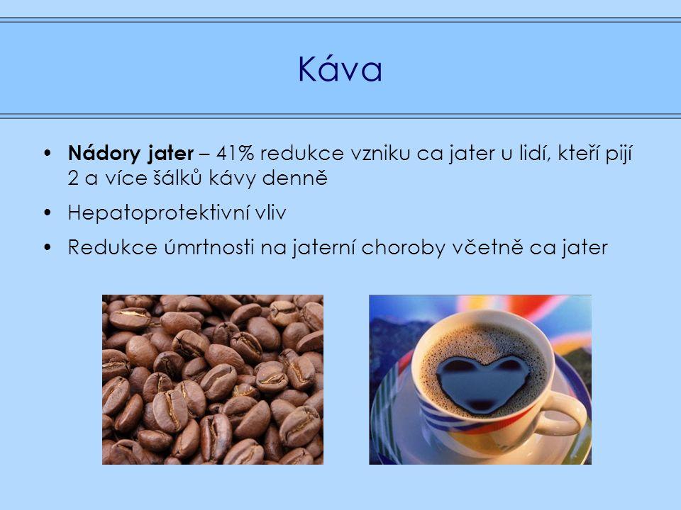 Káva Nádory jater – 41% redukce vzniku ca jater u lidí, kteří pijí 2 a více šálků kávy denně Hepatoprotektivní vliv Redukce úmrtnosti na jaterní choroby včetně ca jater