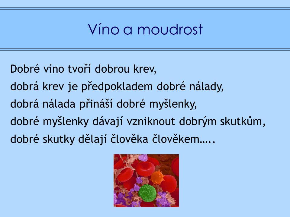 Víno a moudrost Dobré víno tvoří dobrou krev, dobrá krev je předpokladem dobré nálady, dobrá nálada přináší dobré myšlenky, dobré myšlenky dávají vzniknout dobrým skutkům, dobré skutky dělají člověka člověkem…..