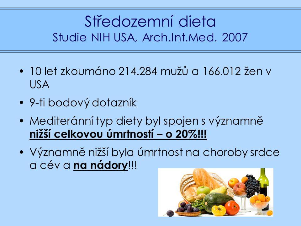 Středozemní dieta Studie NIH USA, Arch.Int.Med.