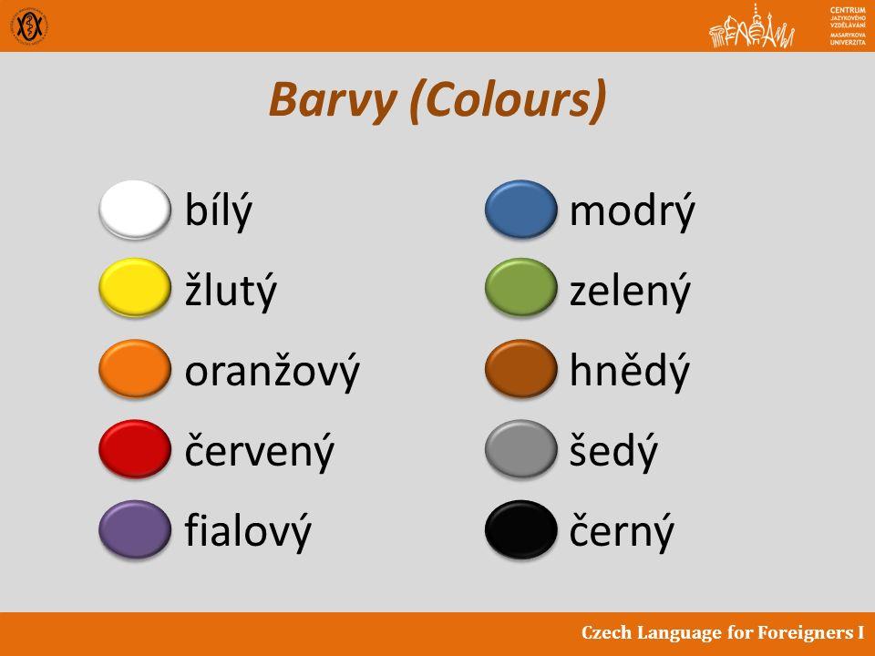 Czech Language for Foreigners I Barvy (Colours) bílý žlutý oranžový červený fialový modrý zelený hnědý šedý černý