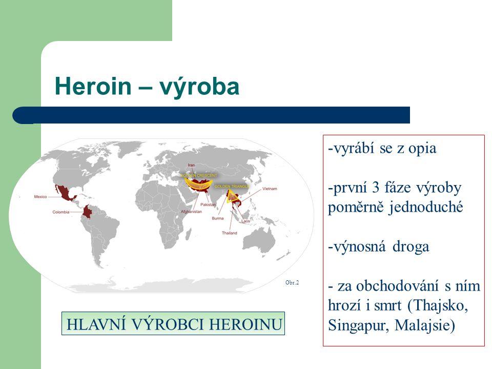 Heroin – výroba -v-vyrábí se z opia -p-první 3 fáze výroby poměrně jednoduché -v-výnosná droga - za obchodování s ním hrozí i smrt (Thajsko, Singapur, Malajsie) HLAVNÍ VÝROBCI HEROINU Obr.2