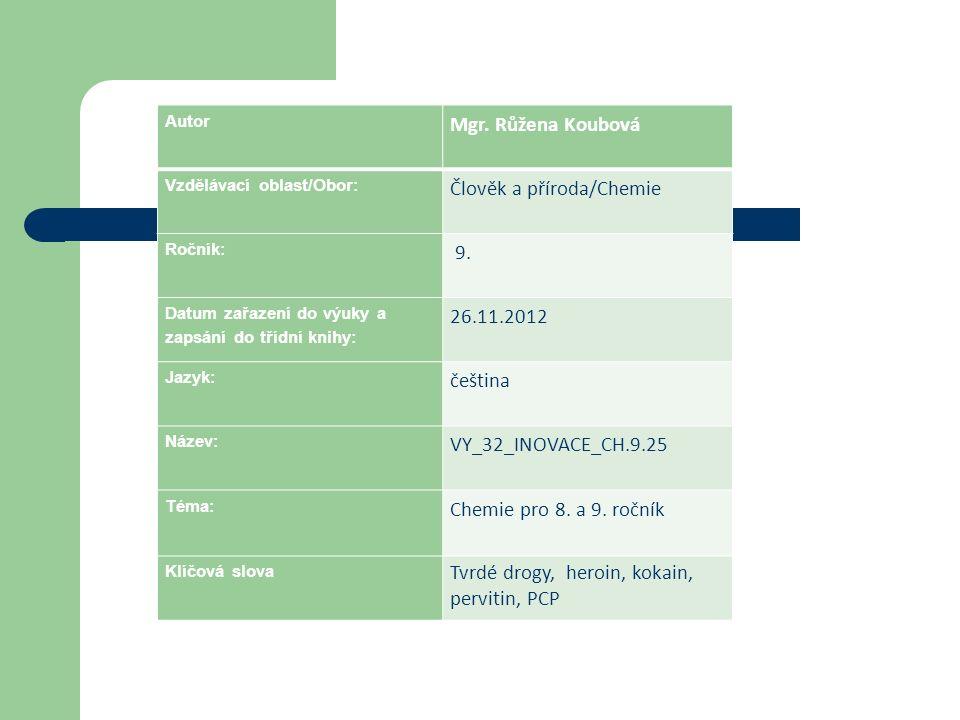 Autor Mgr. Růžena Koubová Vzdělávací oblast/Obor: Člověk a příroda/Chemie Ročník: 9. Datum zařazení do výuky a zapsání do třídní knihy: 26.11.2012 Jaz