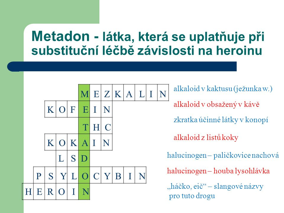 """Metadon - látka, která se uplatňuje při substituční léčbě závislosti na heroinu alkaloid v kaktusu (ježunka w.) alkaloid v obsažený v kávě zkratka účinné látky v konopí halucinogen – paličkovice nachová halucinogen – houba lysohlávka """"háčko, eič – slangové názvy pro tuto drogu alkaloid z listů koky M E Z K A L I N K O K A I N K O F E I N T H C H E R O I N P S Y L O C Y B I N L S D"""