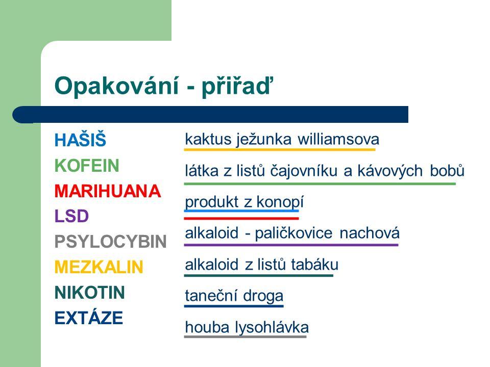 Pervitin metamfetamin syntetická stimulační droga UŽÍVÁNÍ: kouření, šňupání,nitrožilně, tobolky působí obvykle 12 až 24 hodin má nahořklou příchuť rozšířená u nás, výroba podomácku z efedrinu efedrin = látka v některých lécích (nurofen, modafen) Obr.5