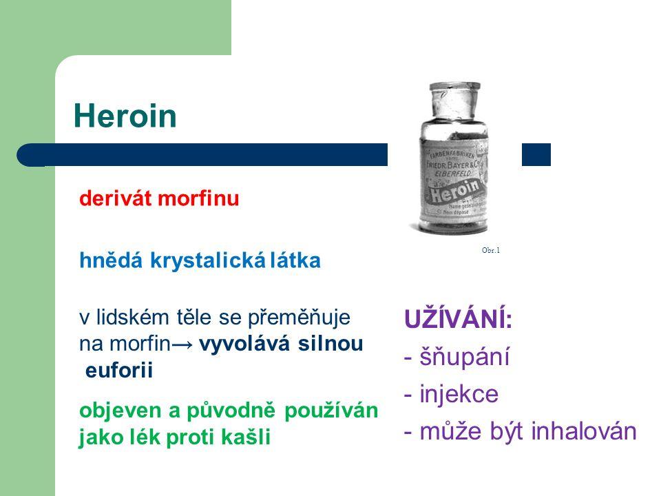 Heroin UŽÍVÁNÍ: - šňupání - injekce - může být inhalován derivát morfinu hnědá krystalická látka v lidském těle se přeměňuje na morfin → vyvolává siln