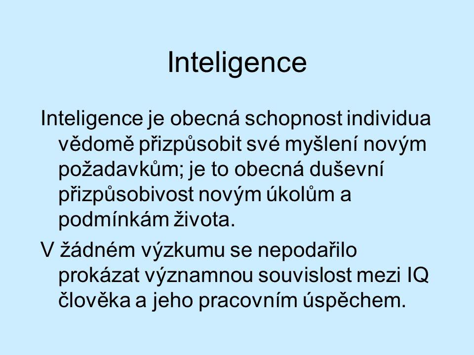 Měření speciálních schopností verbální myšlení numerické myšlení prostorová představivost schopnost koncentrace manuální zručnost divergentní myšlení →v testech inteligence →např.