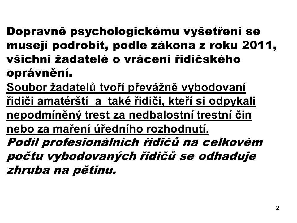 Dopravně psychologickému vyšetření se musejí podrobit, podle zákona z roku 2011, všichni žadatelé o vrácení řidičského oprávnění.