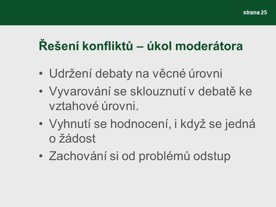 Řešení konfliktů – úkol moderátora Udržení debaty na věcné úrovni Vyvarování se sklouznutí v debatě ke vztahové úrovni.