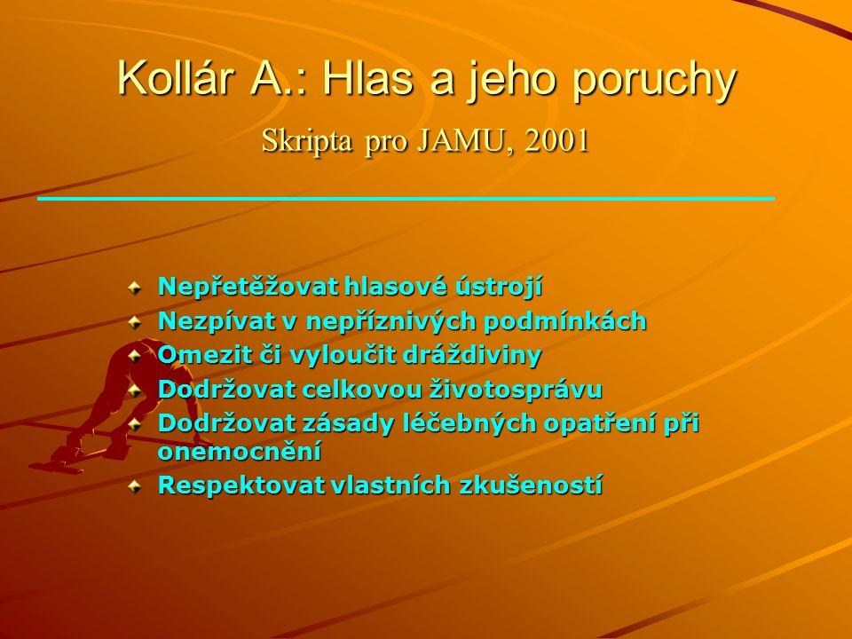 Kollár A.: Hlas a jeho poruchy Skripta pro JAMU, 2001 Nepřetěžovat hlasové ústrojí Nezpívat v nepříznivých podmínkách Omezit či vyloučit dráždiviny Dodržovat celkovou životosprávu Dodržovat zásady léčebných opatření při onemocnění Respektovat vlastních zkušeností